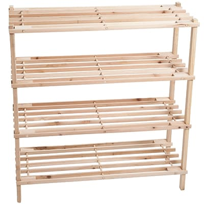 Lavish Home 26.25 x 25 Pine Wood Shoe Rack