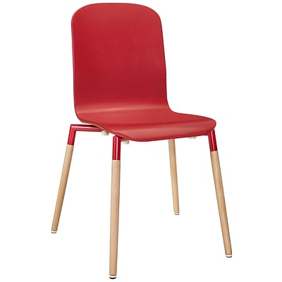 Modway Stack Wood EEI-1054 Steel/Wood Dining Chairs; Red
