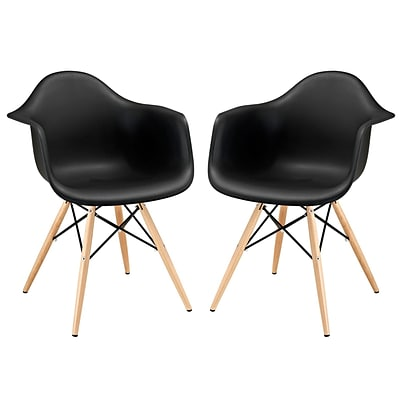Modway Pyramid EEI-929-BLK Set of 2 Wood Dining Chairs, Black