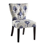 Ave Six Andrew Solid Wood & Fabric Chair, Medallion Ikat Blue