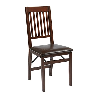 OSP Designs Solid Wood Folding Chair, Espresso Seat