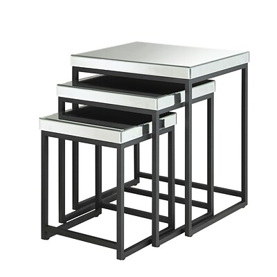 OSP Designs 24.5 x 21.5 Mirrored & Steel Nesting Tables