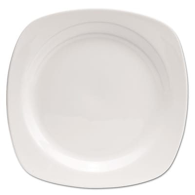 Office Settings Chefs Table Porcelain Square Dinnerware Plate; White; 8/Box