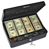 PM Company 9 Compartment Tray, Sleek Design, Spaciously Sized Cash Box, Black/Silver, 3 3/4H x 12 1