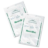 PM Company Plastic Money Bags, Tamper Evident, 9 x 12, White, 50/Pk