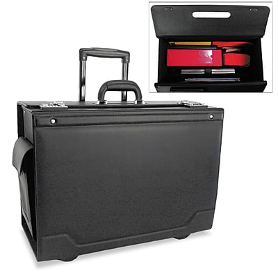 Stebco Wheeled Catalog Case, Leather-Trimmed Tufide, Black, 15 1/2H x 21 3/4W x 9 3/4D