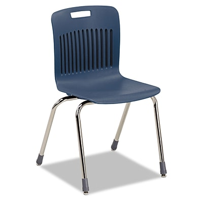 Virco® Analogy Extra Large Ergonomic Polypropylene Stack Chair; Navy/Chrome