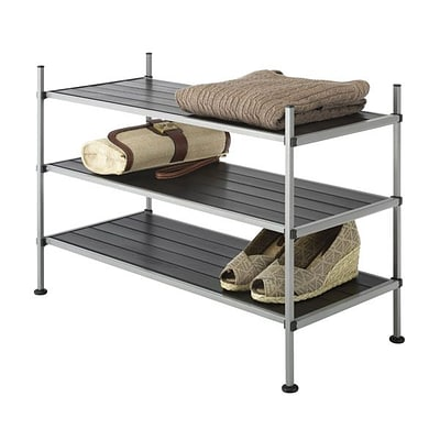 Whitmor 3-Tier Fabric Storage Shelves, Silver/Black