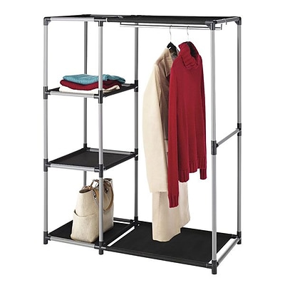Whitmor Spacemaker Garment Rack and Shelves, Black
