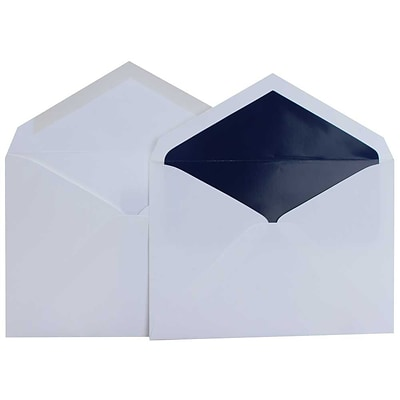 JAM Paper® Lined Wedding Envelope Set, 5.75 x 8, Super White with Navy Blue Lined Envelopes, 100/pack (526SE6078)