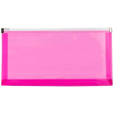 JAM Paper® #10 Plastic Envelopes with Zip Closure, 5 x 10, Fuchsia Pink Poly, 12/pack (921Z1FU)
