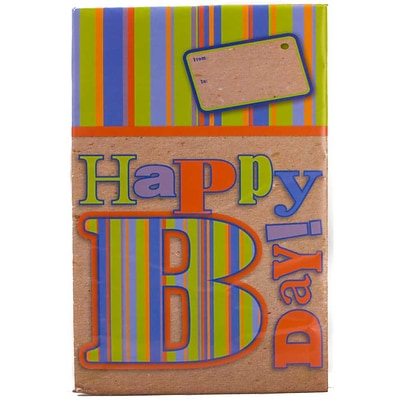 JAM Paper® Holiday Bubble Mailers, Medium, 8.5 x 12.25, Happy Birthday Stripes, 6/pack (SS20MDM)