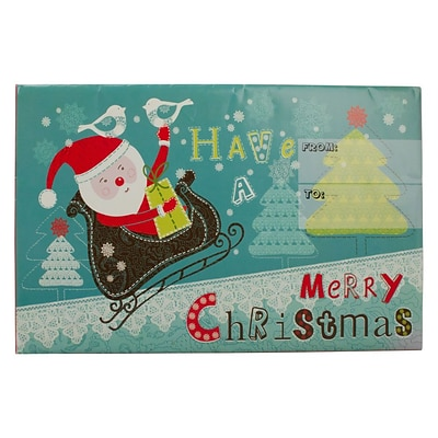 JAM Paper® Holiday Bubble Mailers, Medium, 8.5 x 12.25, Santa on Sleigh Have a Merry Christmas, 6/pack (SS36MDM)