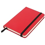 JAM Paper® Hardcover Lined Notebook With Elastic Closure, Small, 3 3/4 x 5 5/8 Journal, Red, Sold In