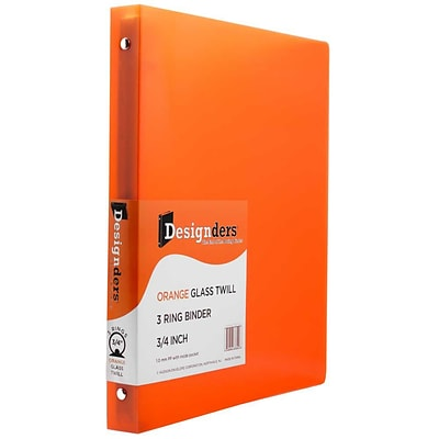 JAM Paper® Plastic 3 Ring Binder, 0.75 inch, Glass Twill Orange, Sold Individually (750T1OR)