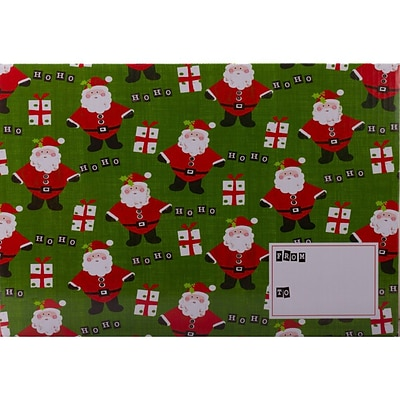 JAM Paper® Mailing Gift Box With Safety Lock, Small, 6.25 x 3.75 x 9.5, Green Santa Christmas, 6/Pack (SS47SDB)