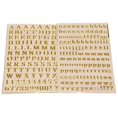 JAM Paper® Self Adhesive Alphabet Letters Stickers, Gold, 242/Pack (132811516)