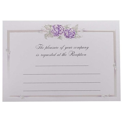 JAM Paper® Fill-in Wedding Reception Card Set, Purple Rose with Metallic Border, 25/pack (354628224)