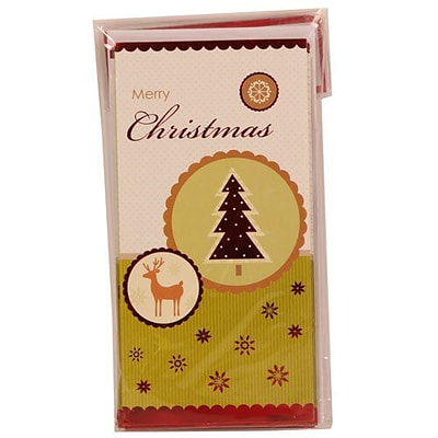 JAM Paper® Christmas Money Cards Set, Merry Christmas Reindeer and Christmas Tree, set of 6 (95224270)