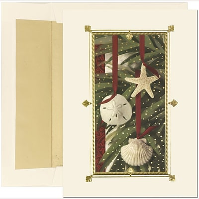 JAM Paper® Christmas Holiday Cards Set, Warm Wishes Shell Ornaments, 18/pack (526350979)