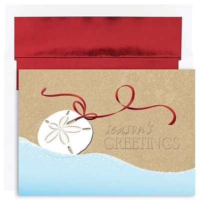 JAM Paper® Christmas Holiday Cards Set, Warm Wishes Shell Swag, 18/pack (526844400)