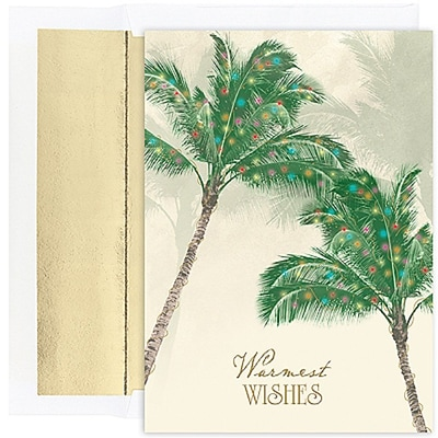 JAM Paper® Christmas Holiday Cards Set, Warm Wishes Palm Trees, 18/pack (526844500)