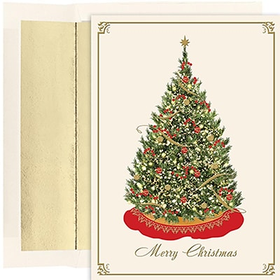 JAM Paper® Christmas Cards Set, Elegant Tree, 16/Pack (526851400)
