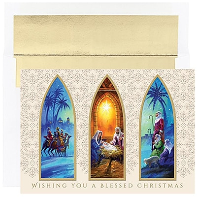 JAM Paper® Christmas Holiday Cards Set, Christmas Triptych, 16/pack (526857000)