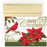 JAM Paper® Christmas Holiday Cards Set, Peace and Joy Merry Christmas Cardinal, 16/pack (526859900)