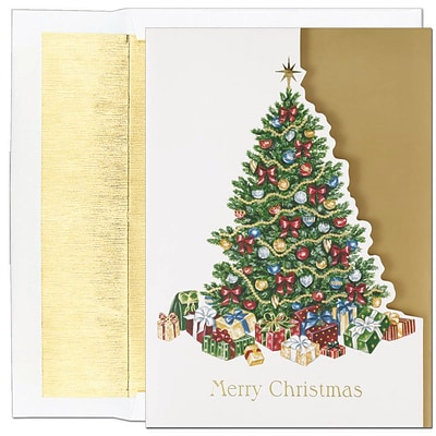 JAM Paper® Christmas Holiday Cards Set, Peace and Joy Covered in Gifts, 16/pack (526801700)