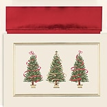 JAM Paper® Christmas Holiday Cards Set, Peace and Joy Holiday Trees, 16/pack (526838900)