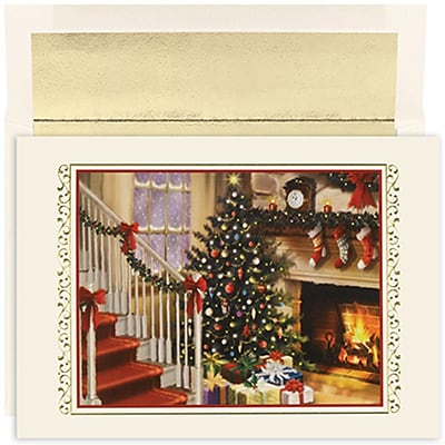 JAM Paper® Christmas Holiday Cards Set, Peace and Joy Fireside, 18/pack (526847300)
