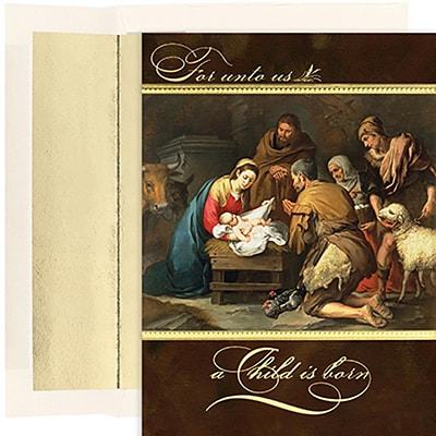 JAM Paper® Christmas Holiday Cards Set, A Child is Born, 18/pack (526848000)