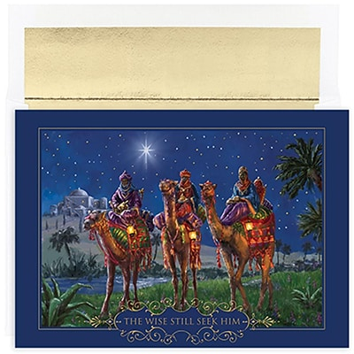JAM Paper® Christmas Holiday Cards Set, Wisemen at Night, 18/packs (526857800)