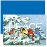 JAM Paper® Christmas Holiday Cards Set, Home for the Holidays Birds on Branch, 18/pack (526796600)