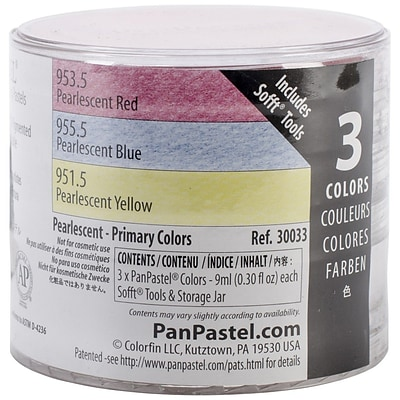 Colorfin PanPastel® Pearlescent 9 ml Artist Pastels Set, Red/Blue/Yellow