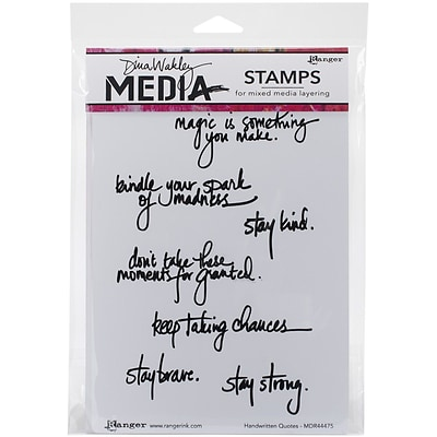 Ranger Dina Wakley Media Cling Stamps, 6 x 9, Handwritten Quotes