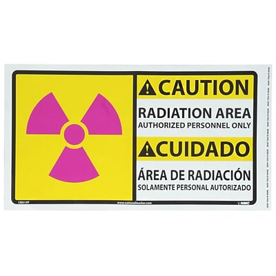 Caution, Radiation Area Authorized Personnel Only (Graphic), Bilingual, 10X18, Adhesive Vinyl