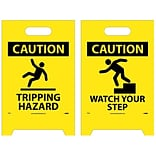 Floor Sign, Dbl Side, Caution Tripping Hazard Caution Watch Your Step, 20X12