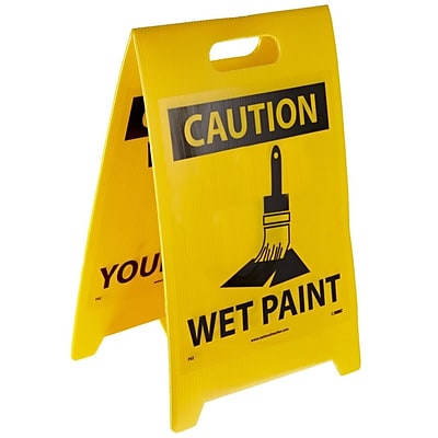 Floor Sign, Dbl Side, Caution Watch Your Step Caution Wet Paint, 20X12