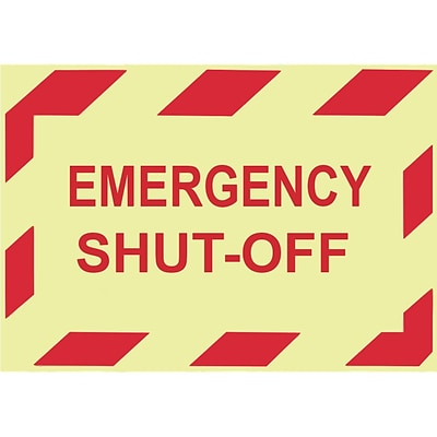 Glow Labels-Emergency Shut-Off, 3X5, Adhesive Vinylglow, 5/Pk
