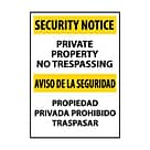 Security Notice, Private Property No Trespassing Bilingual, 20X14, .040 Aluminum