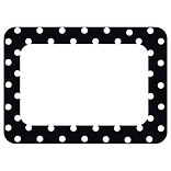 Teacher Created Resources Name Tags/Label, Black Polka Dots 2, All Grades (TCR5538)
