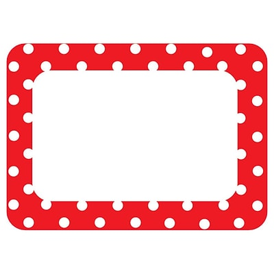 teacher created resources name tags label red polka dots 2 all grades tcr5539. Black Bedroom Furniture Sets. Home Design Ideas