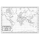 Kappa Map Group Paper World Outline Map; 50/Pack