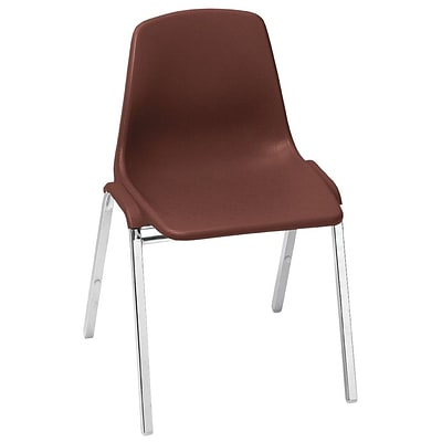 NPS #8118 Poly Shell Stack Chair, Burgundy/Chrome