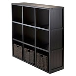Winsome 20340 3 x 3 Cube Shelf with Wainscoting Panel, Black