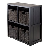 Winsome 20425 2 x 2 Cube Shelf with Wainscoting Panel, Black
