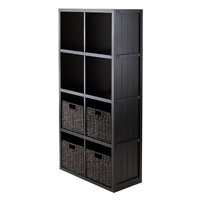 Winsome 20453 4 x 2 Cube Shelf with Wainscoting Panel, Black