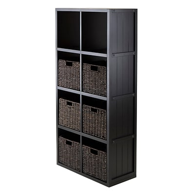 Winsome 20653 4 x 2 Cube Shelf with Wainscoting Panel, Black